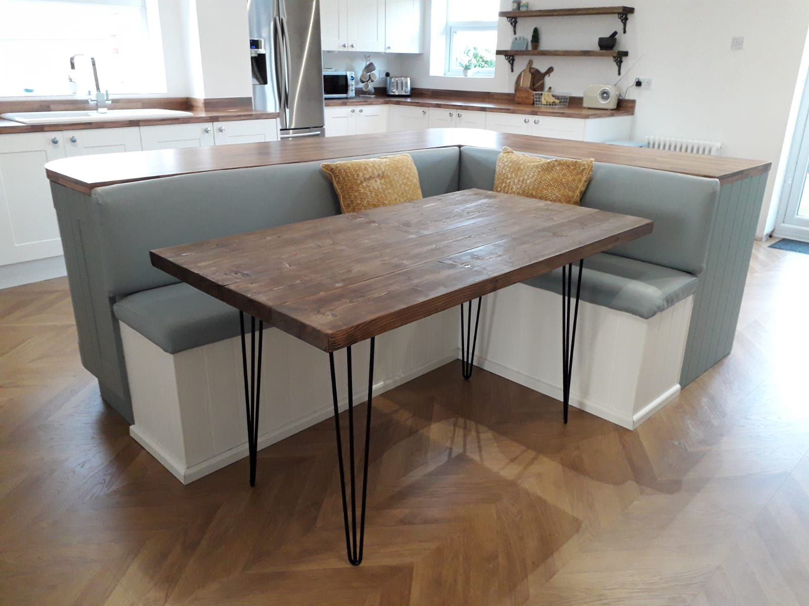 Our L Shaped Kitchen Dining Booth And Handmade Table With Hairpin
