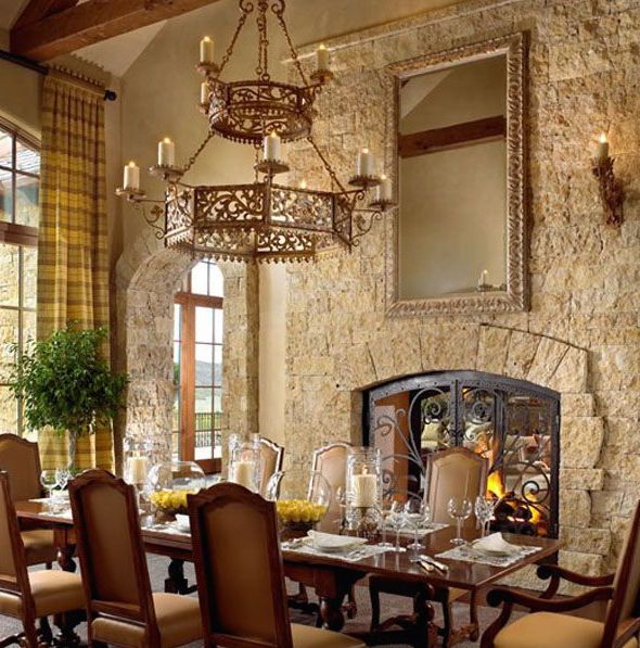 Modern Spanish Style Dining Room With Stone Wall Google