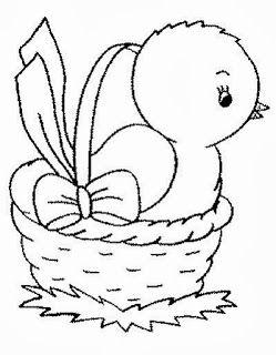desenho de pintinho na cesta para pintar