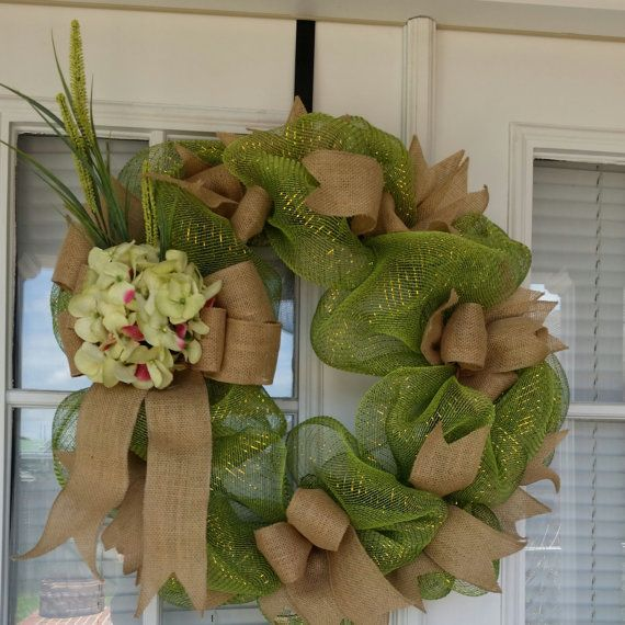 Door Decoration Burlap / Deco Mesh Door by SouthernWhimsyChic