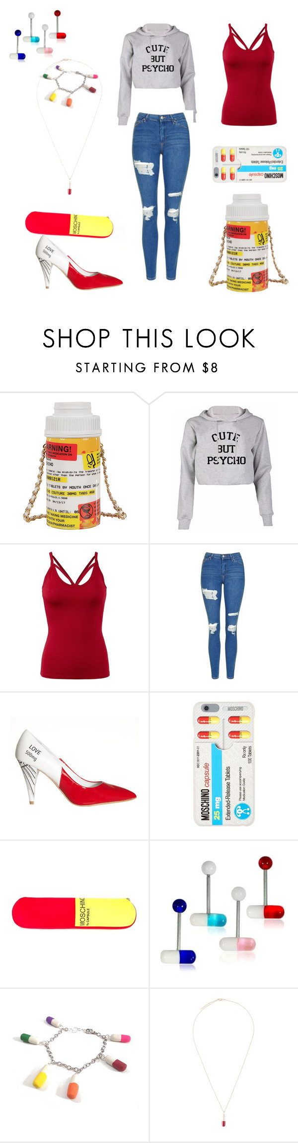 """""""crazy"""" by harlee-hall ❤ liked on Polyvore featuring Moschino, Topshop, Alice + Olivia and True Rocks"""