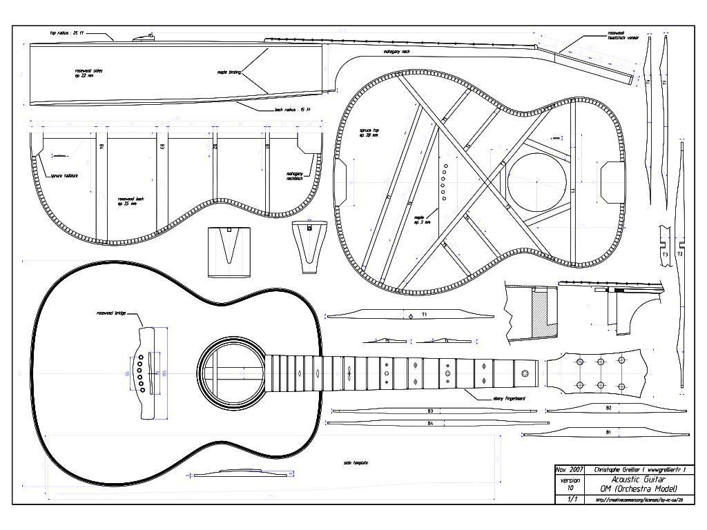 hight resolution of guitar blueprint