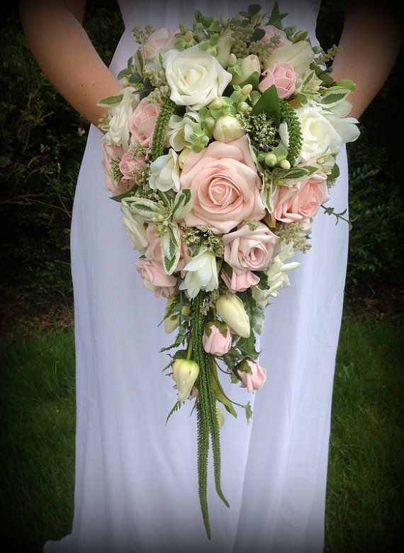 Brides Wedding Flowers Teardrop Bouquet In Soft Pinks And Greens With Roses Tulips Hypericum Berrries