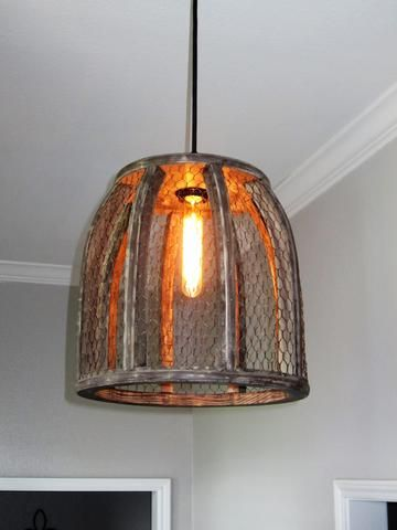 Chicken wire farmhouse large pendant light out of the woodwork designs