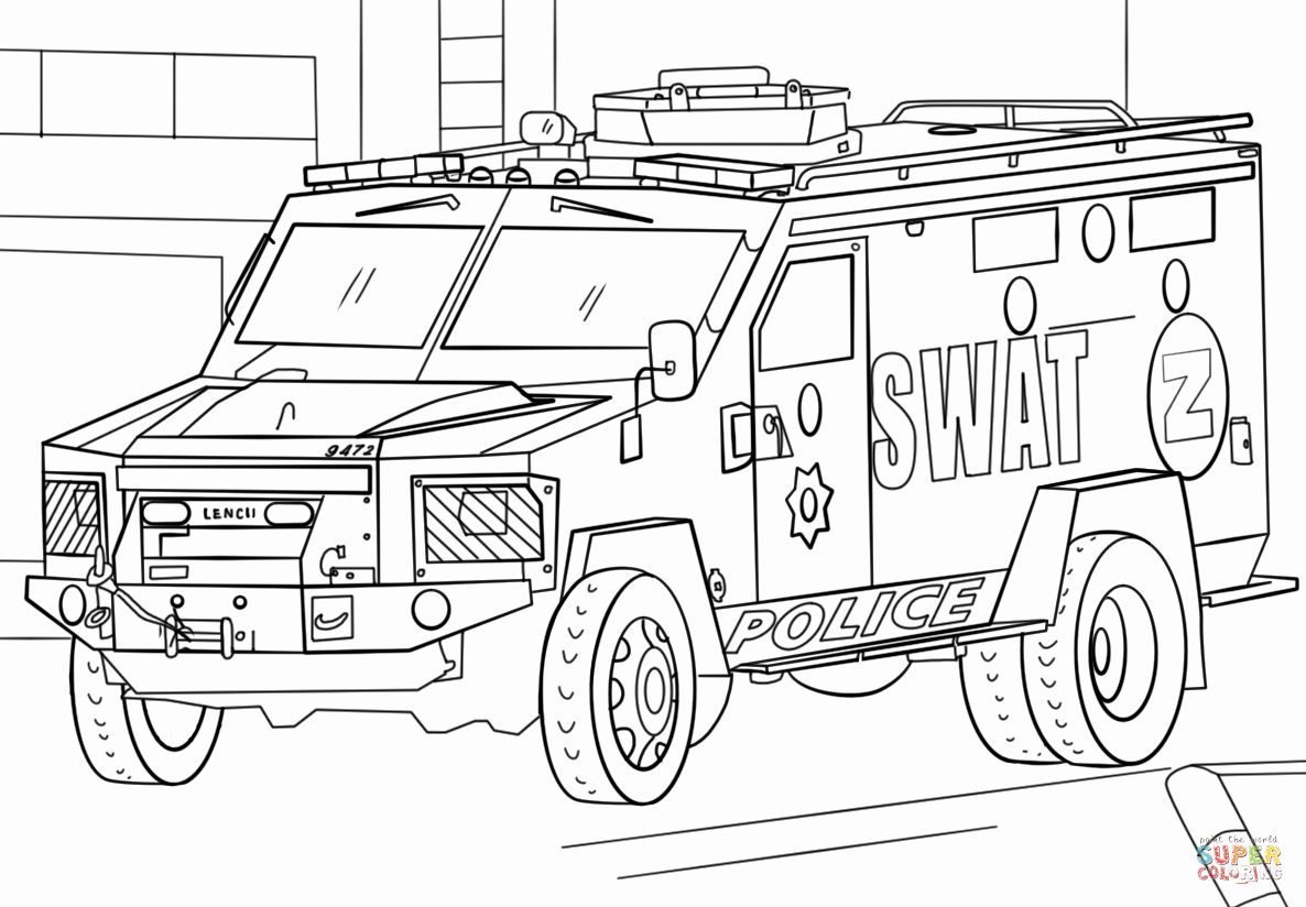 Police Car Coloring Page New Elite And Armored Police Swat Truck