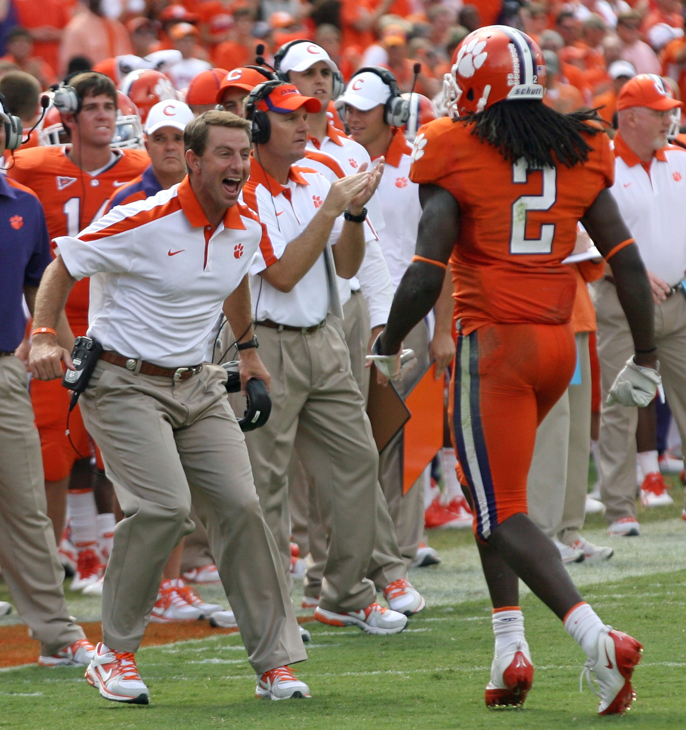 Football Coach Dabo Sweeny Shows Excitement As Sammy Watkins Walks Off The Field Clemson Football Clemson Clemson University