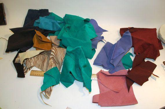 Suede Leather scraps teal, lavender, zebra, tan, navy blue periwinkle
