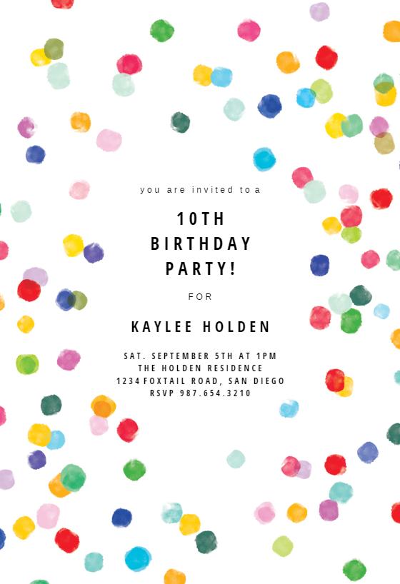 Confetti Party Birthday Invitation Template Greetings Island Birthday Party Invitations Free Birthday Invitations Kids Free Birthday Invitation Templates