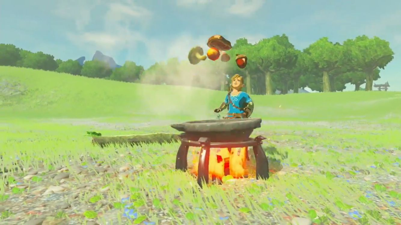Link can cook now in The Legend of Zelda: Breath of the Wild