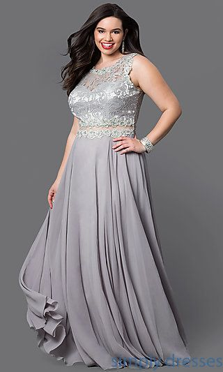 DQ-9322Pr - Lace-Bodice Long Plus-Size Formal Dress in Black ...