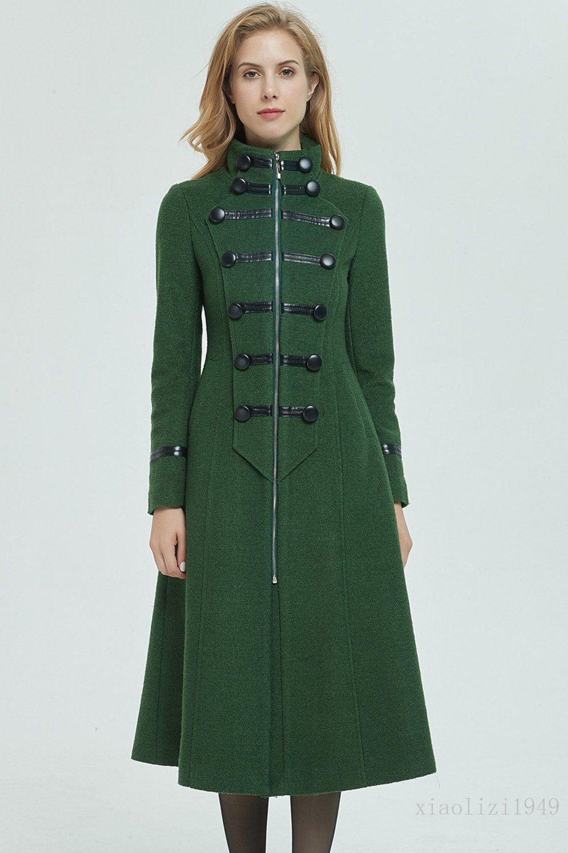 Lange Wolle Mantel, Wintermantel, Damen Mantel, grüner