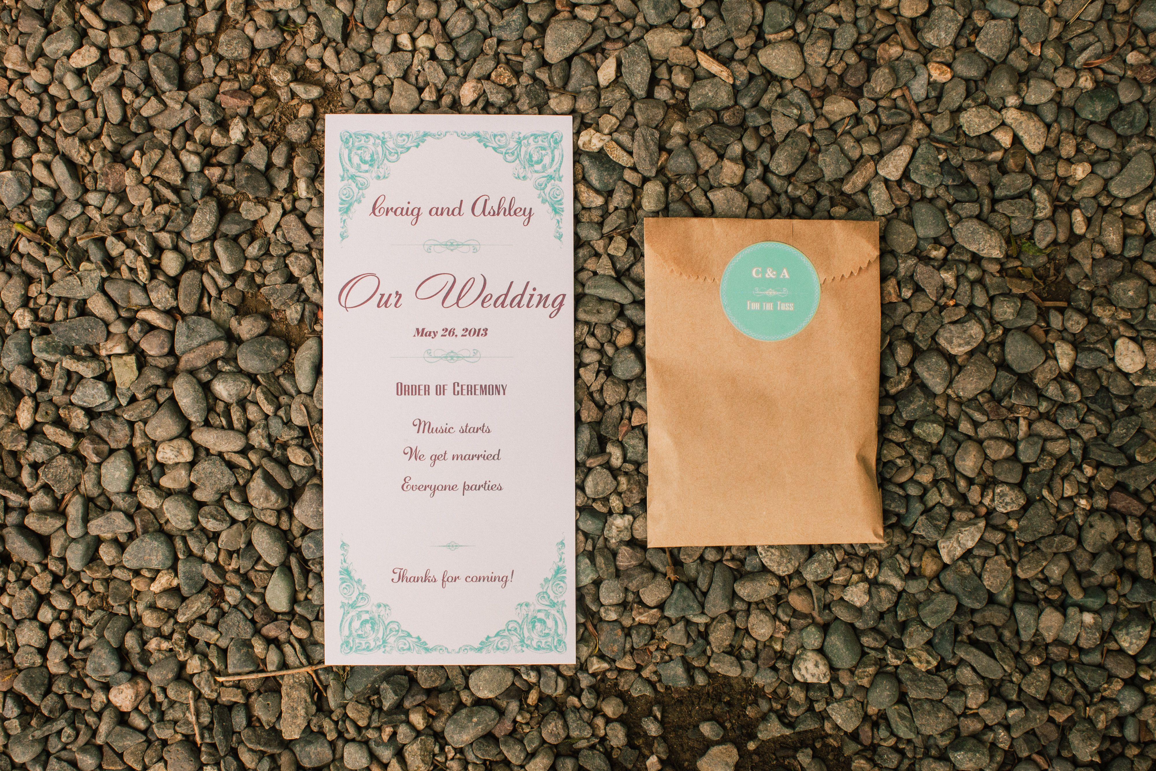 Vistaprint Wedding Program And Lavender Sachet