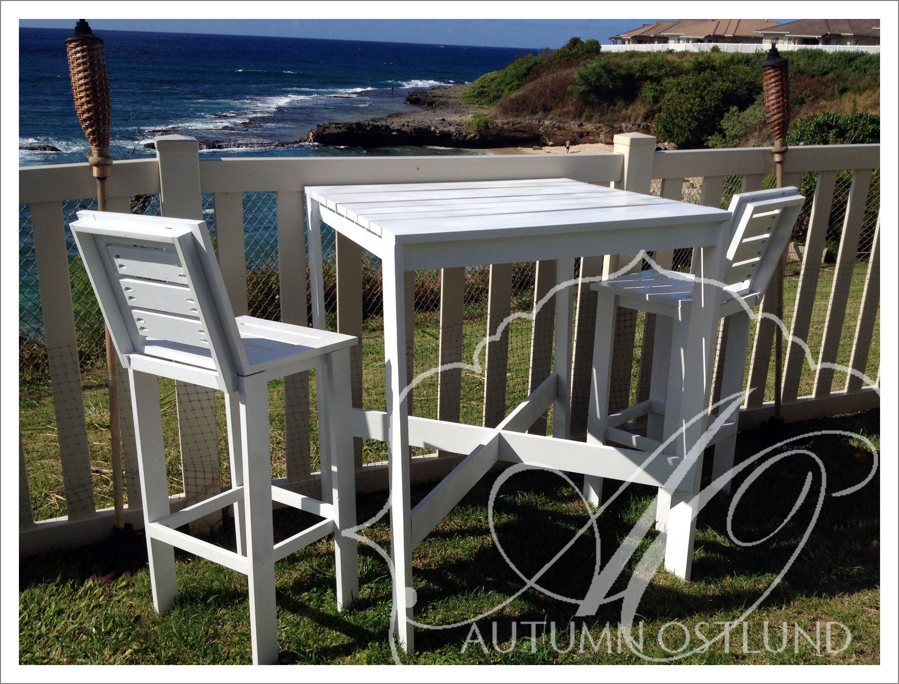 Do It Yourself Outdoor Bar: Outdoor Bistro Table And Tall Backed Stools