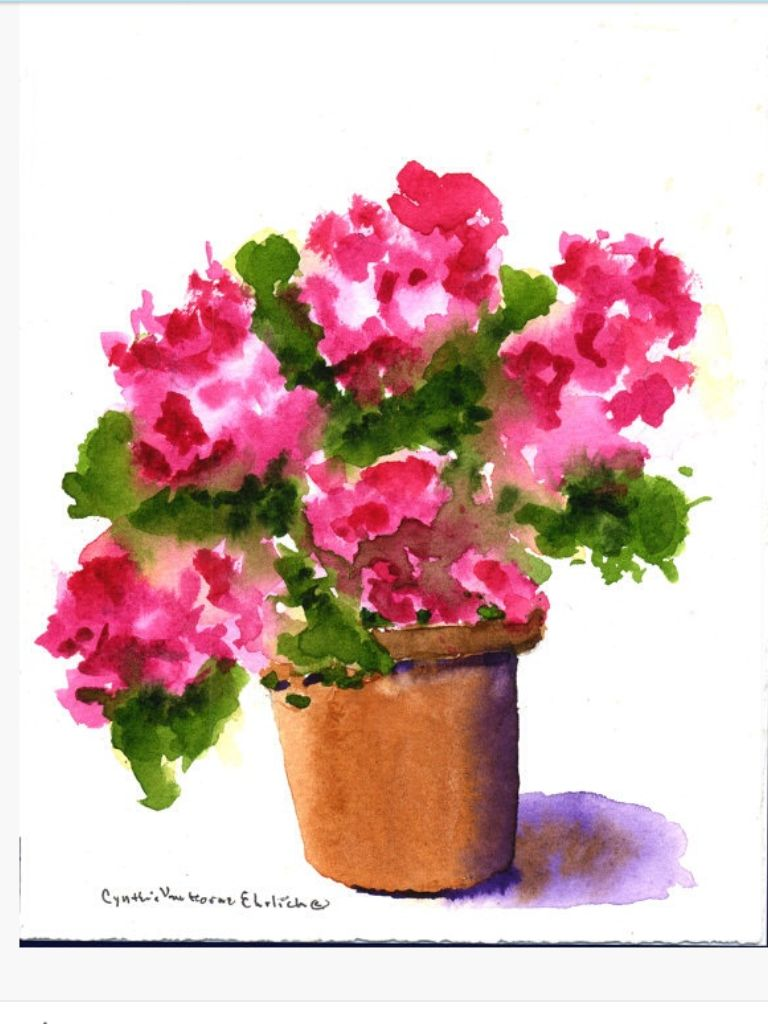 Geranium Flower Painting Flower Art Floral Watercolor