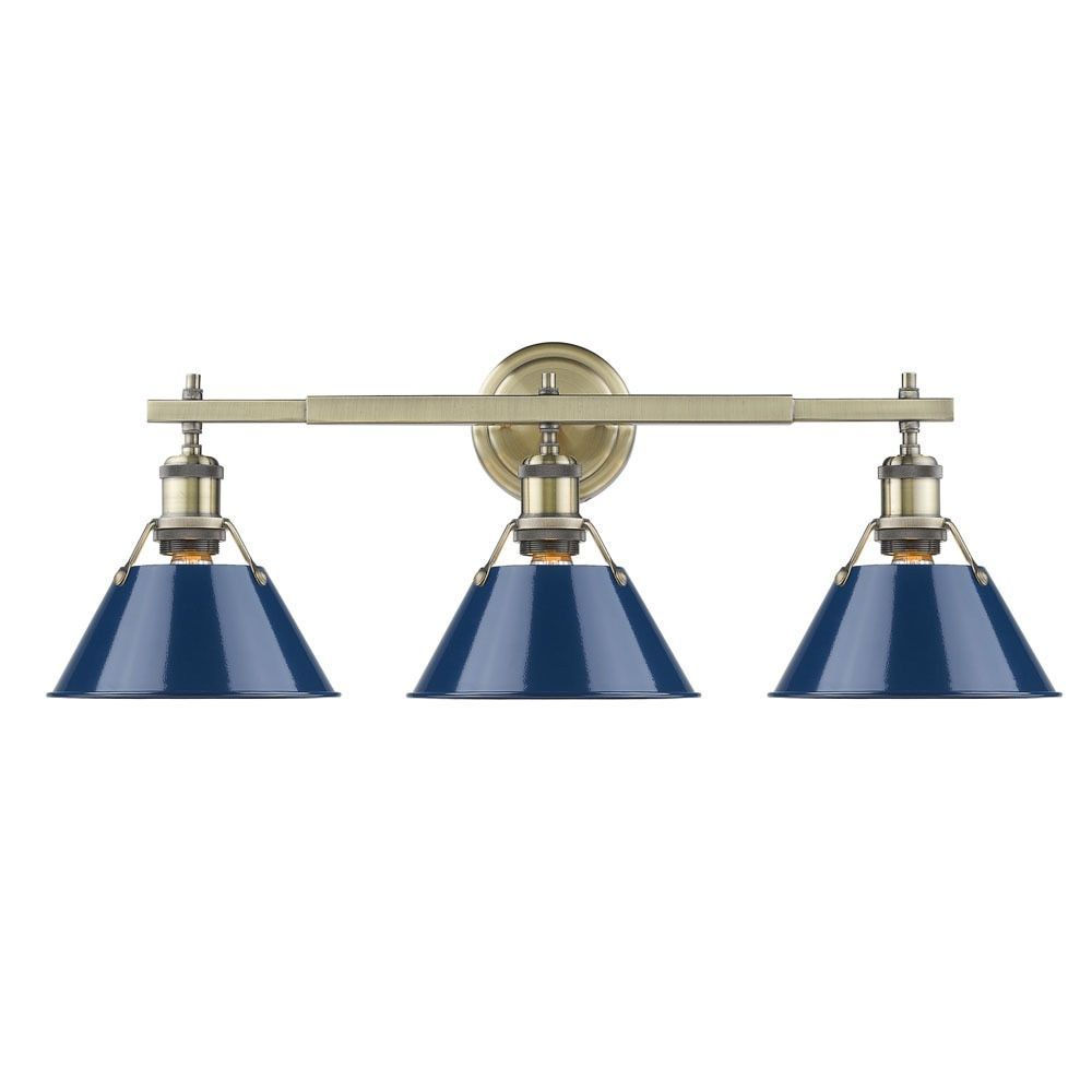 Golden Lighting Orwell Aged Brass Finish Steel Navy Blue Glass Shade 3 Light Bath Vanity