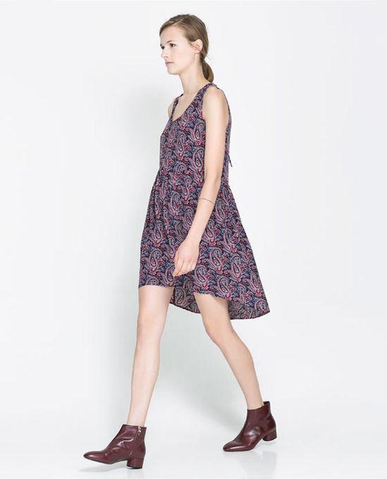Open back purple paisley #print short front long back #dress by Zara. #prints