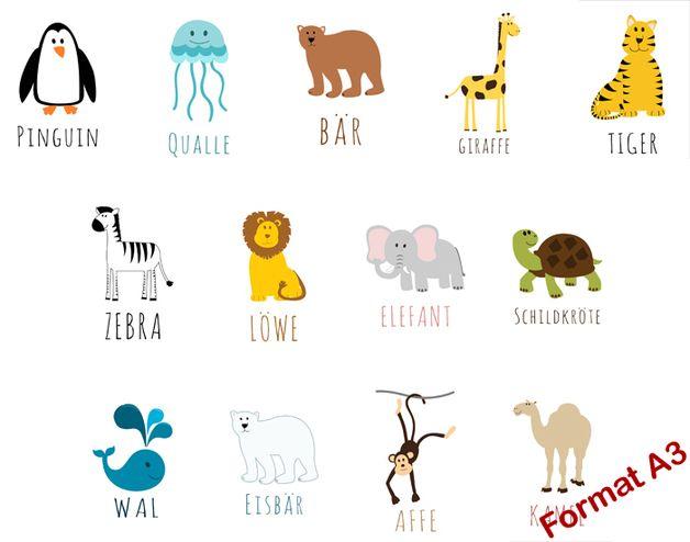 3er Set (A3) Kinderzimmer Bild Tiere