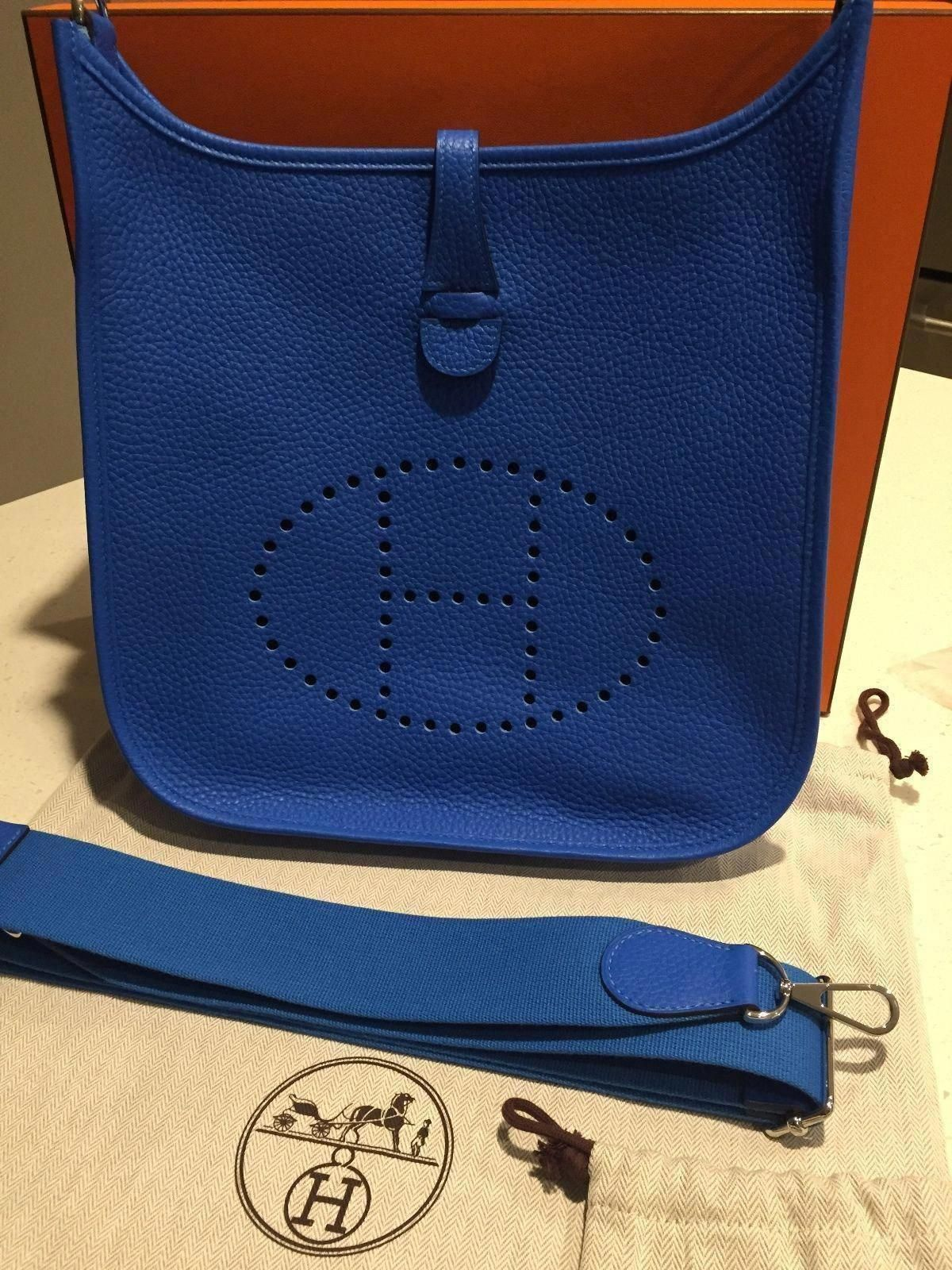 f4d7ce5622dd RARE AUTH NEW IN BOX HERMES EVELYNE PM III 3 BLUE HYDRA SHOULDER CROSS BODY  BAG  Hermeshandbags