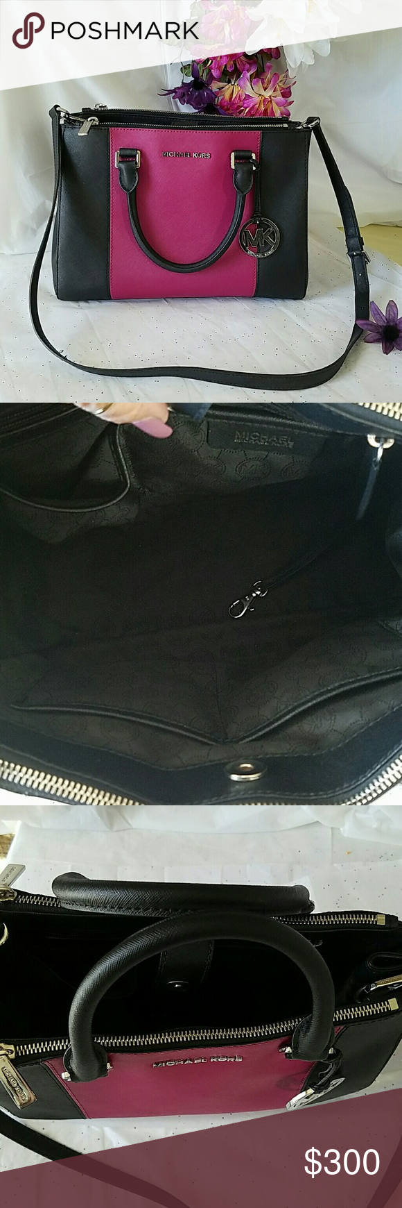 Michael Kors All I can say is WOW! This bag is absolutely gorgeous and spotless.  Authentic Michael Kors with strap for crossbody  This is black and a dark pink, stunning color combination!  Comes with dust bag  TV $400 Michael Kors Bags Crossbody Bags