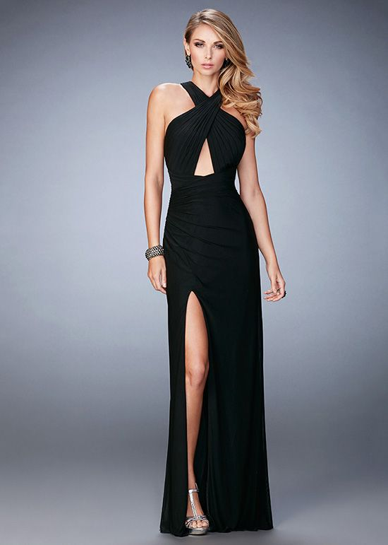 Sexy High Halter Neck Criss Cross Keyhole Front Black Evening Gown ... d22a6b022