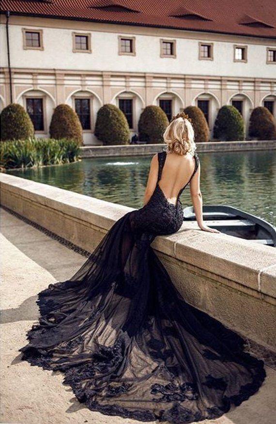 Alternative Wedding Dress/Fairy Wedding Dress/Color Wedding Gown/Black Modern Wedding Dress/Gothic Wedding Dress/Custom Wedding Dress 17