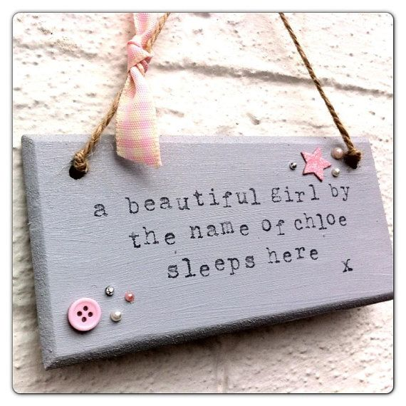 Baby nursery quote shabby chic plaque / wall hanging 'baby sleeps here'