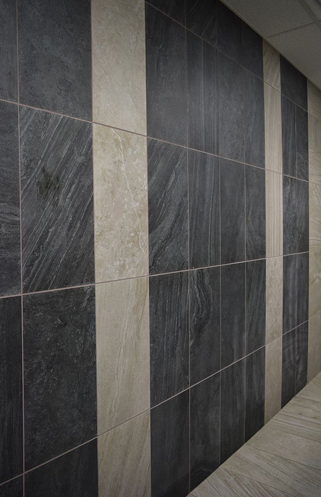 Tile with Style | Linear Bathroom Wall Tile Design | Gray & Black ...