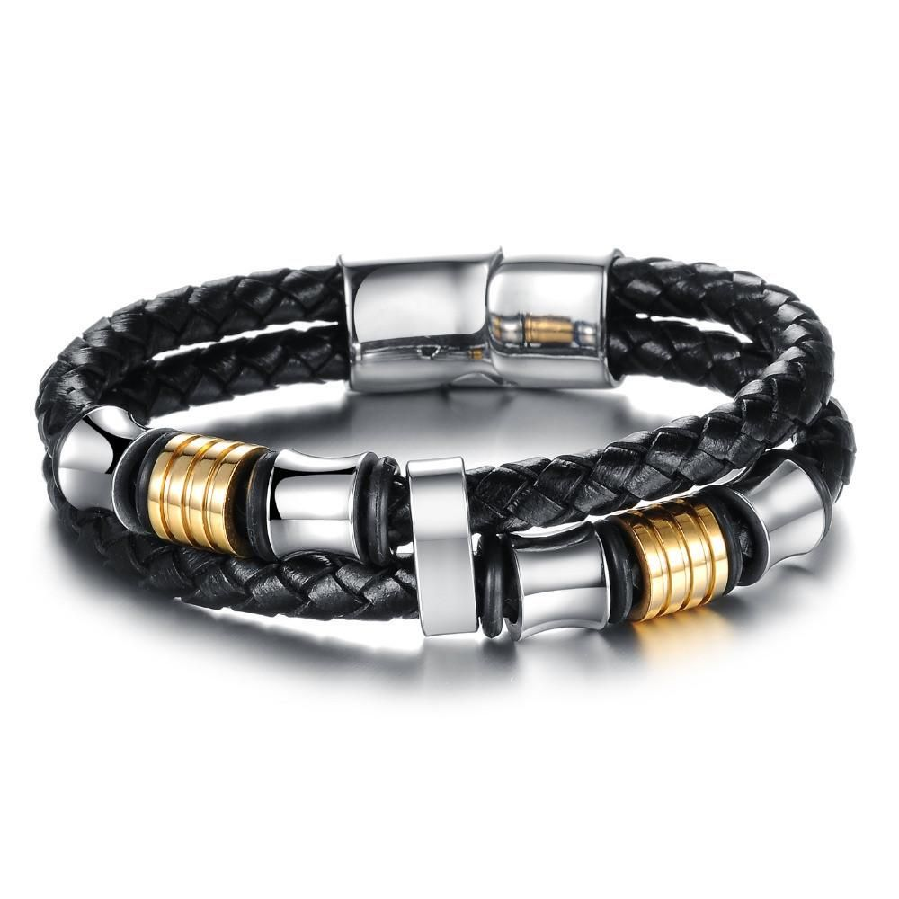 Leather bracelethigh quality punk double layer cowhide bracelet