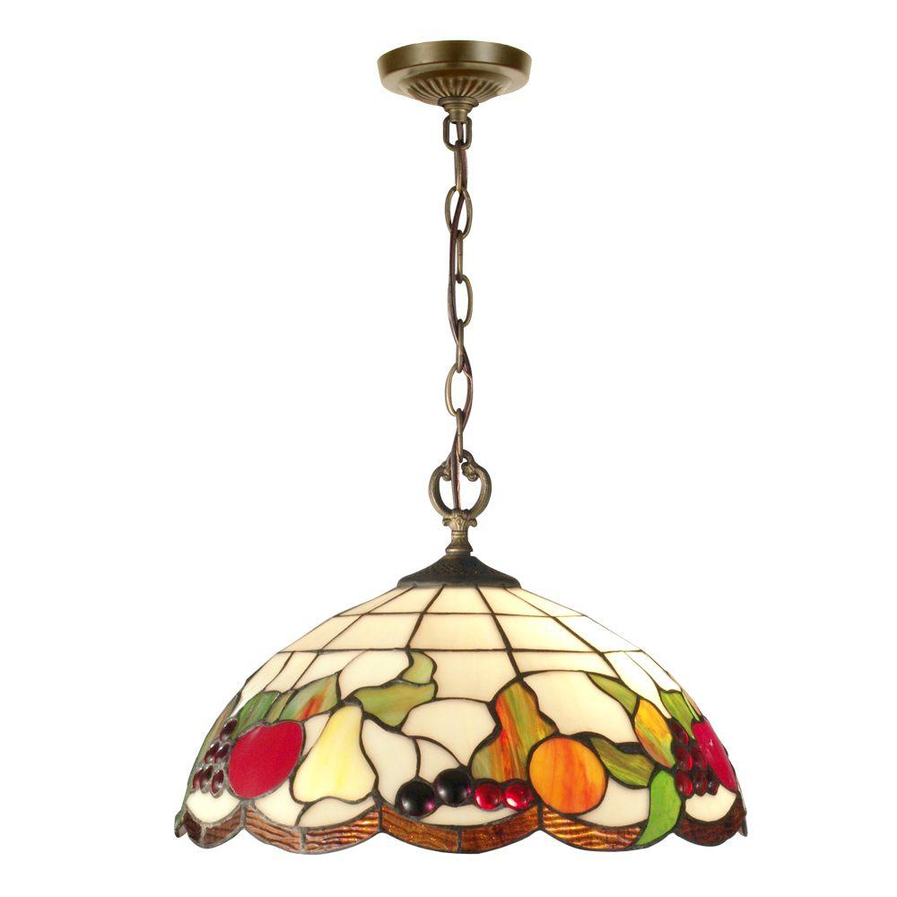 Springdale Lighting Fruit 2 Light Antique Brass Hanging Pendant Sth11002 The Home Depot Stained Glass Light Hanging Pendants Dale Tiffany