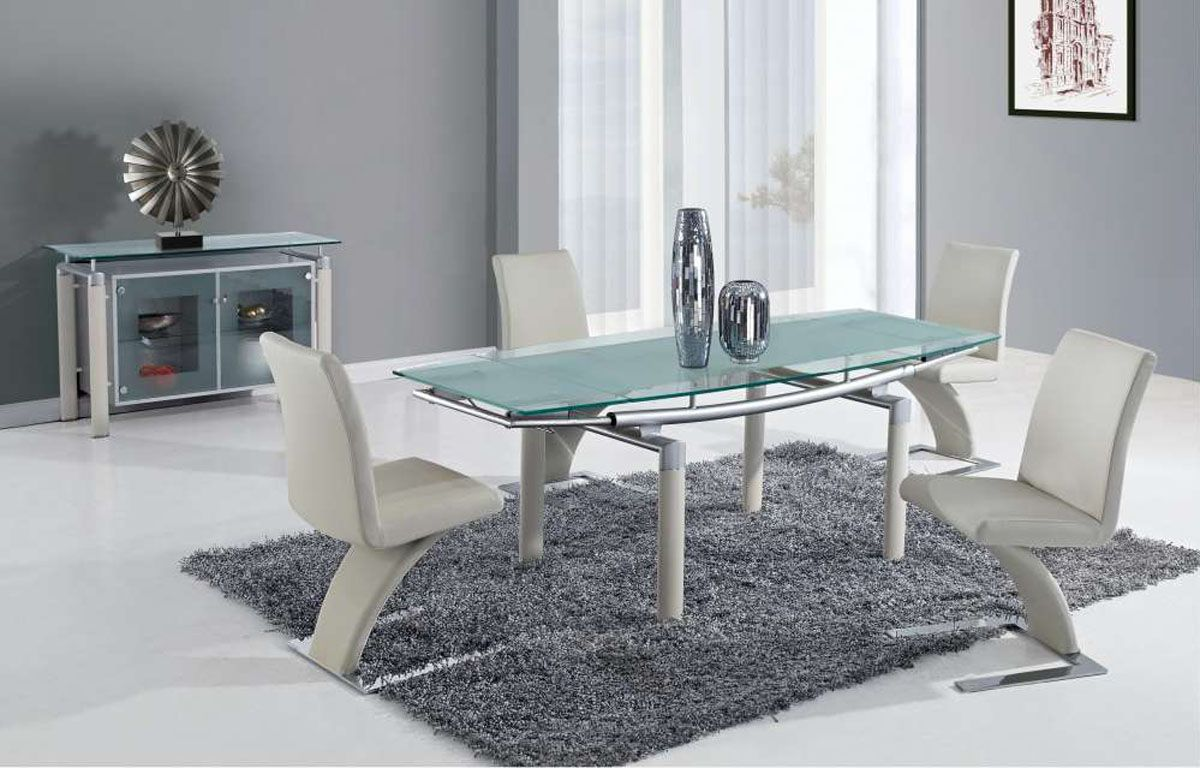 Extendable Frosted Glass Top Designer Modern Dining Room With Leaf Global Furniture Modern Glass Dining Table Glass Dining Table