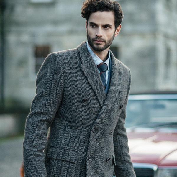 2018 New Arrival Grey Tweed Suits Men Slim Fit Winter Groom Wedding ...