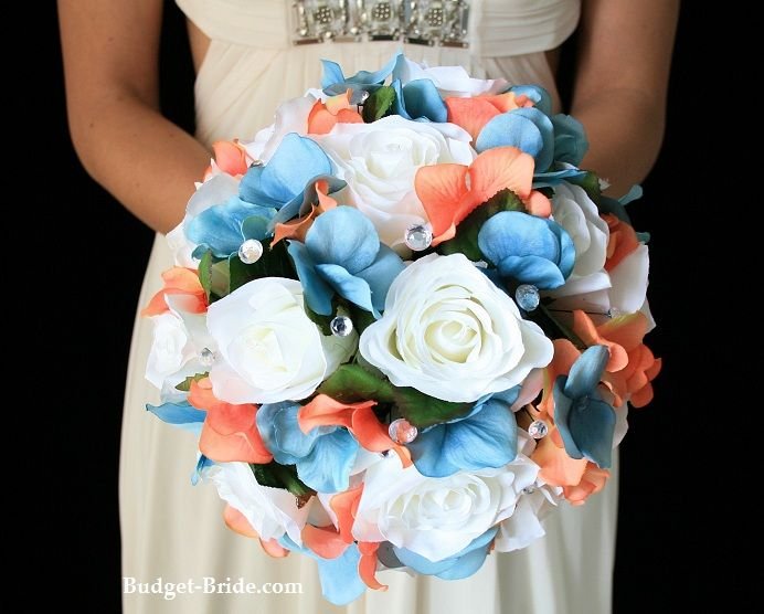 Spring Teal And Coral Wedding Flowers