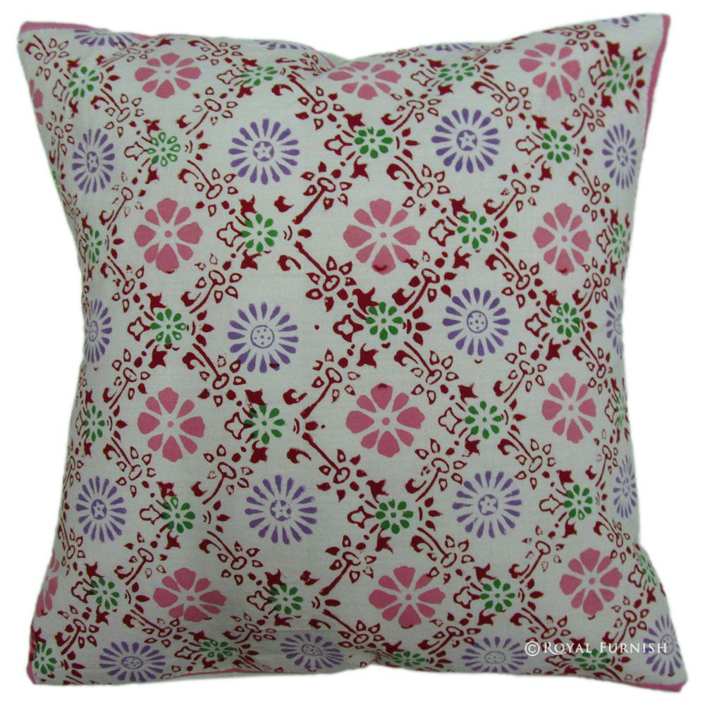 """New Indian Floral Hand Block Printed Cotton Throw Cushion Pillow Cover Sham 16/"""""""