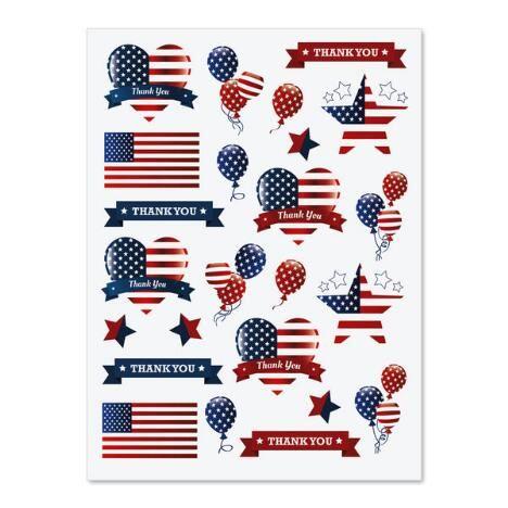 Patriotic Hearts & Stars Stickers $1.98