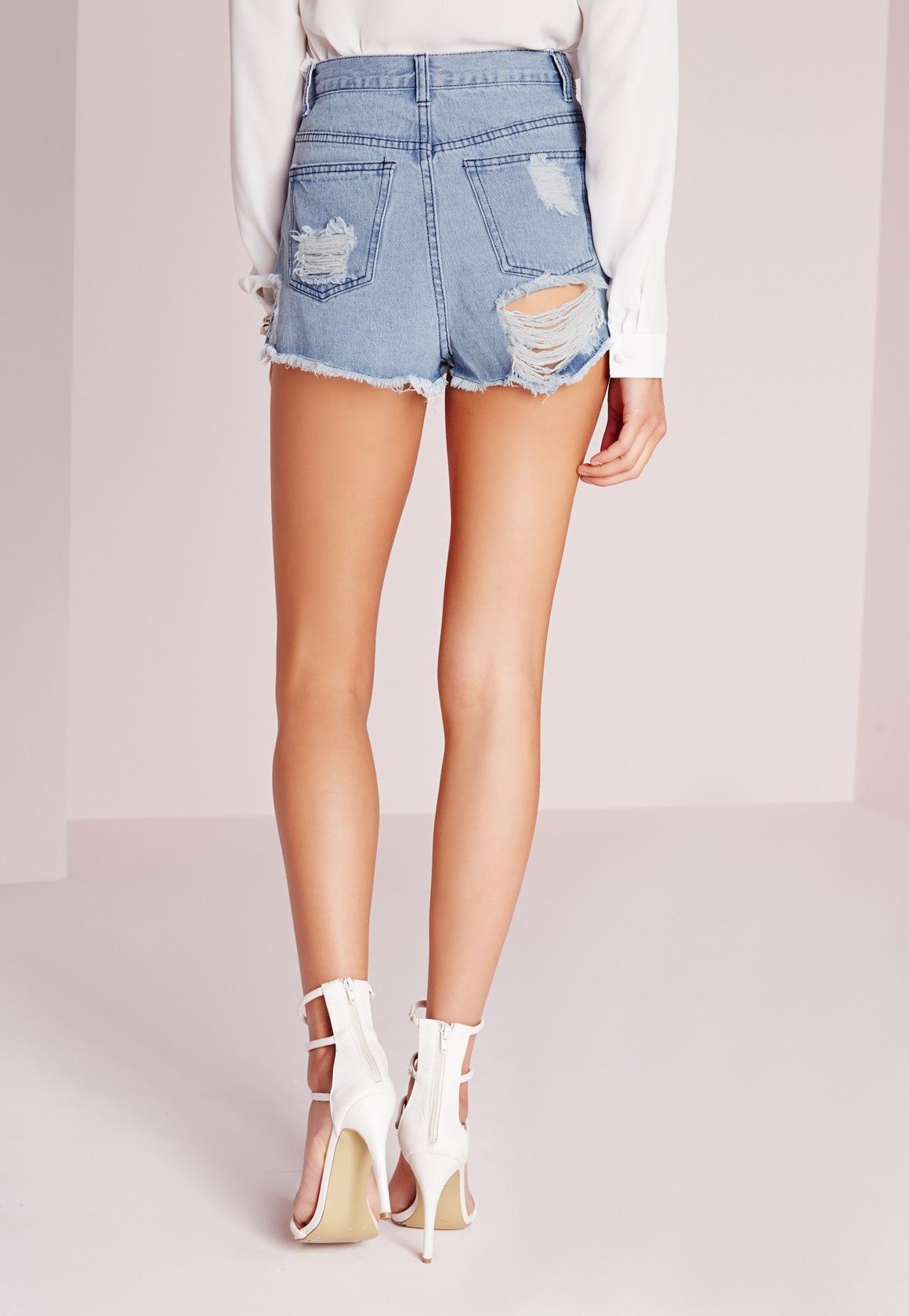403d94ab15 Missguided - Extreme Rip High Waisted Denim Shorts Vintage Blue ...
