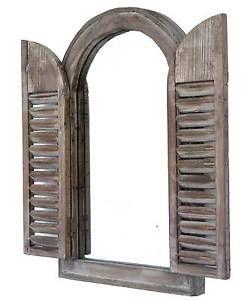 miroir fen tre cintr e arrondie 2 volets persiennes en. Black Bedroom Furniture Sets. Home Design Ideas