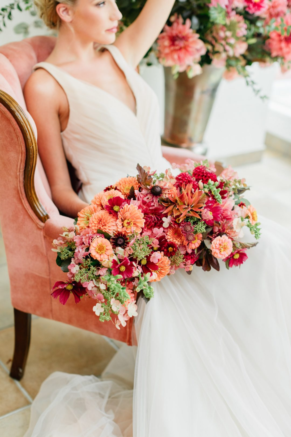Wedding at Pomme at Radnor near Philadelphia   Colorful Summer Bridal Bouquet with Peach. C…   Bridal bouquet summer. Summer wedding colors ...