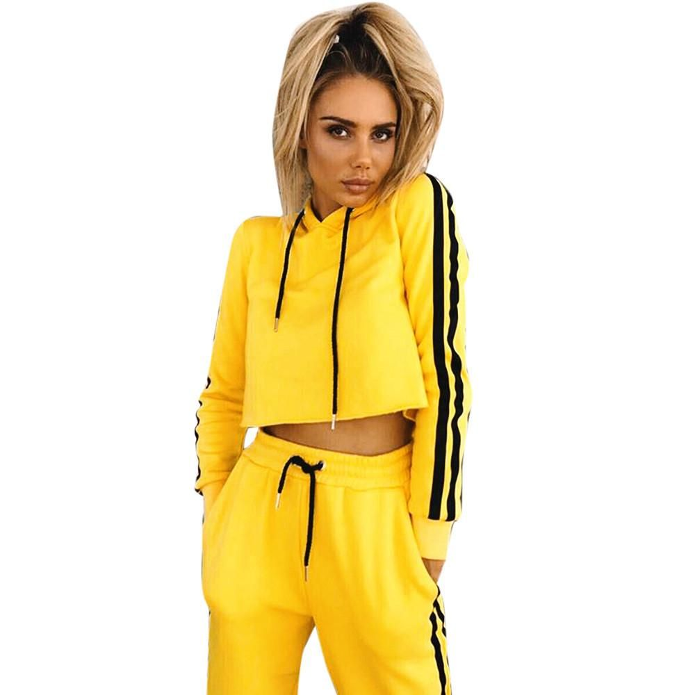 Two-Piece Outfit Women Long Sleeve Sweatshirt Hoodie Blouse in 2019 ... e63e2c143418