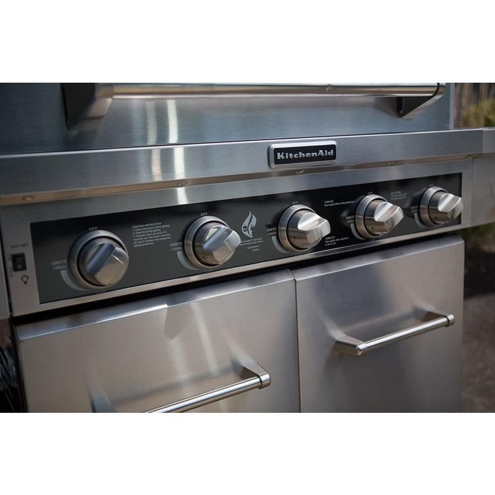 Kitchenaid 5burner propane gas grill in stainless steel