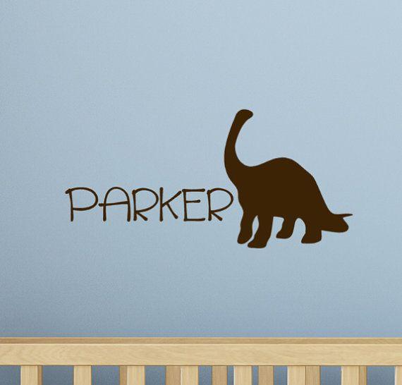 Dinosaur Wall Decal Monogram Kids Name Decor Vinyl Wall Art - Custom vinyl wall decals dinosaur