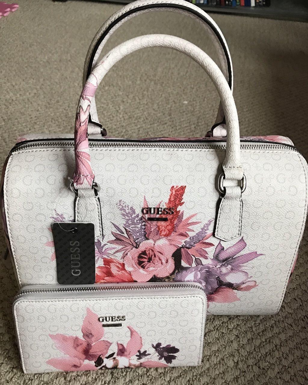 Guess Ashville Bag Fl Wallet Set White Pink Rose Box