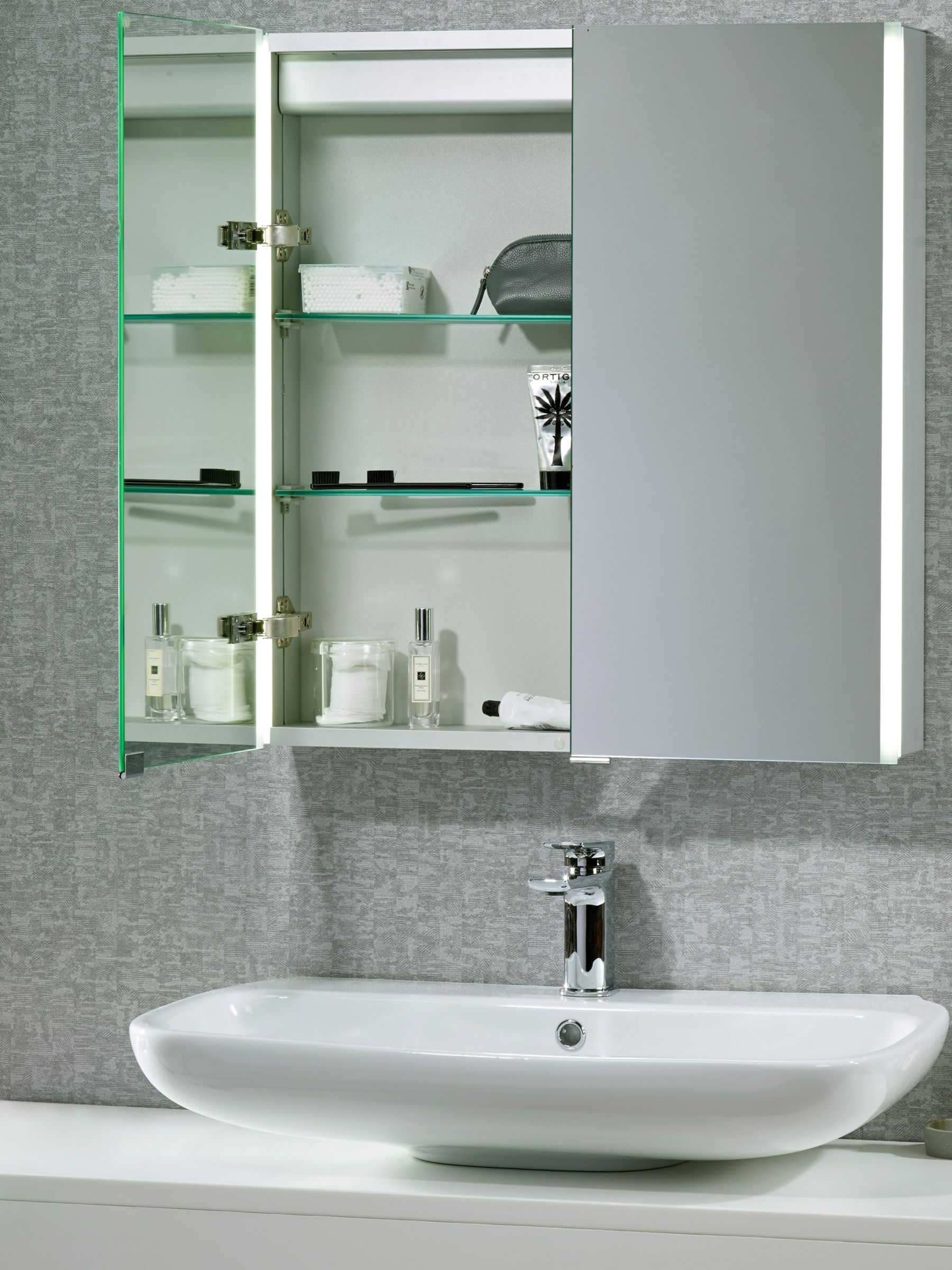 John Lewis Partners Led Trace Double Mirrored Illuminated Bathroom Cabinet Products In 2019 Bathroom Cabinets Bathroom Double Mirror
