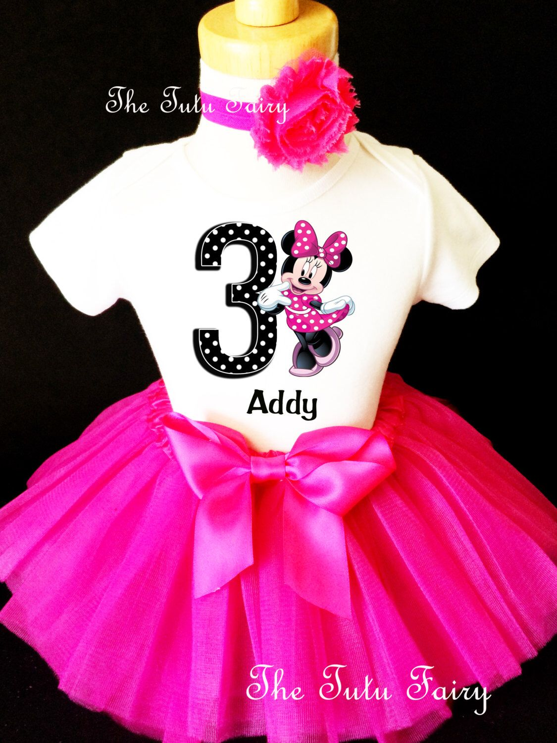 3rd Third Birthday Pink Baby Minnie Mouse Sequins Headband Tutu Outfit Set Girl