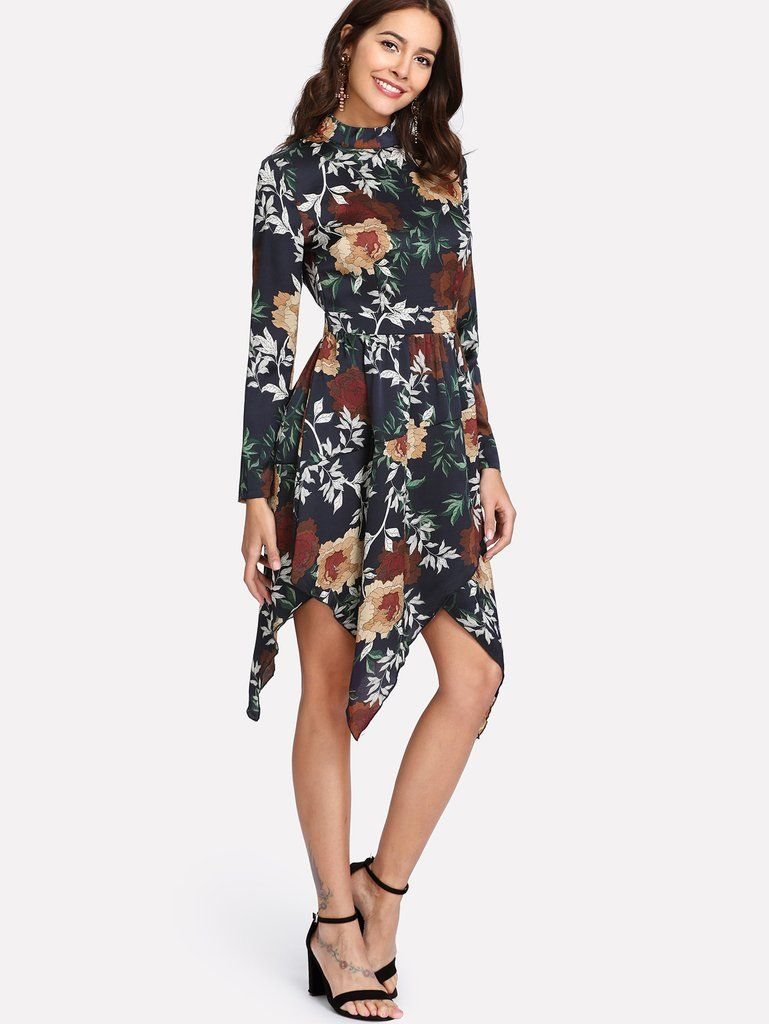 Asymmetrical hem floral dress borntowear fashion dresses