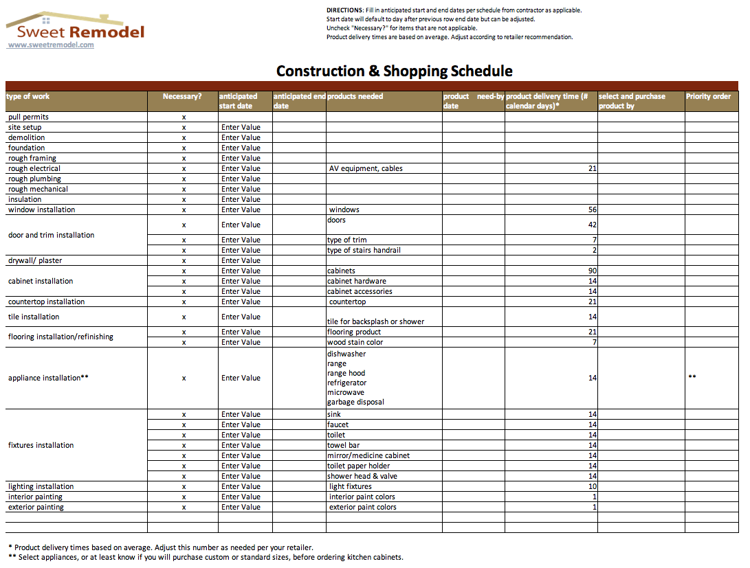 sample construction schedules