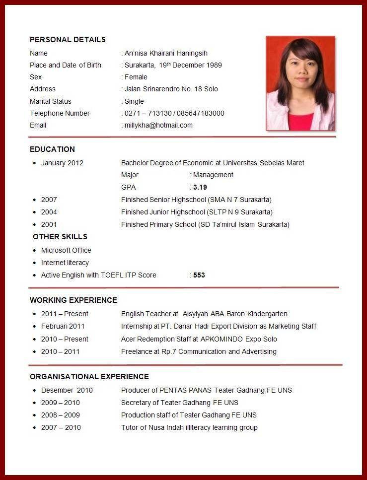 Image Result For Curriculum Vitae Atlit Riwayat Hidup Resume Guru Resume Keren