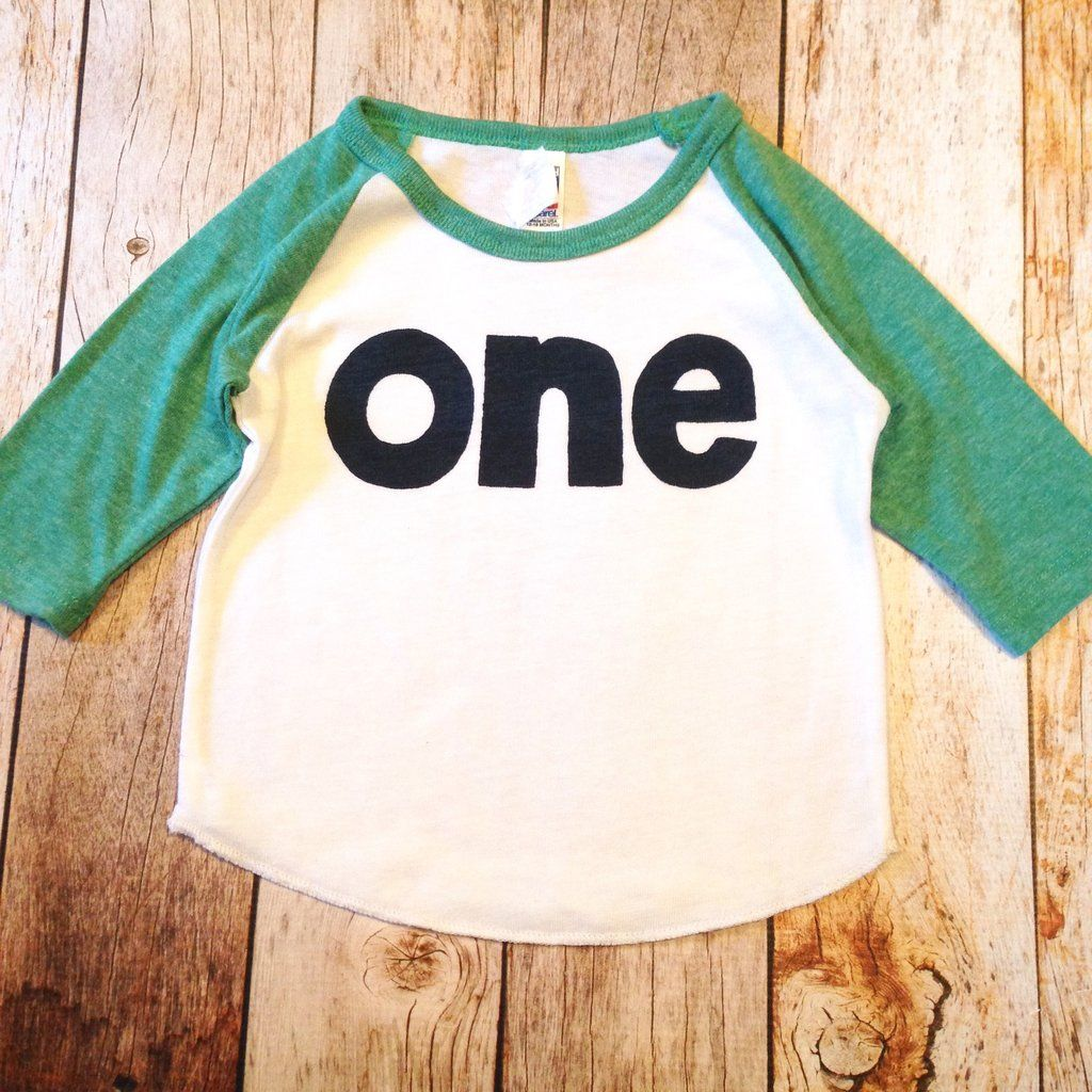 Baseball sports boys green and white 1st birthday shirt