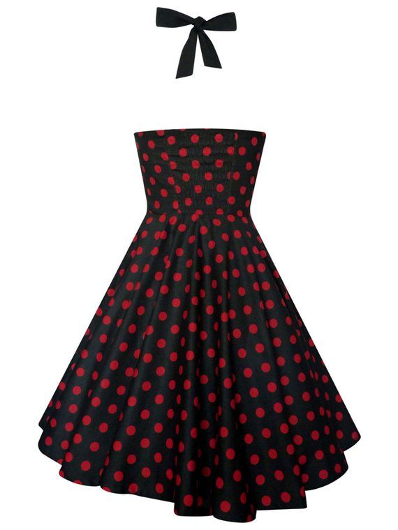 80db0100c Plus Size Black and Red Polka Dots Dress Vintage Rockabilly Pin Up Dress  50s Retro Gothic Clothing S
