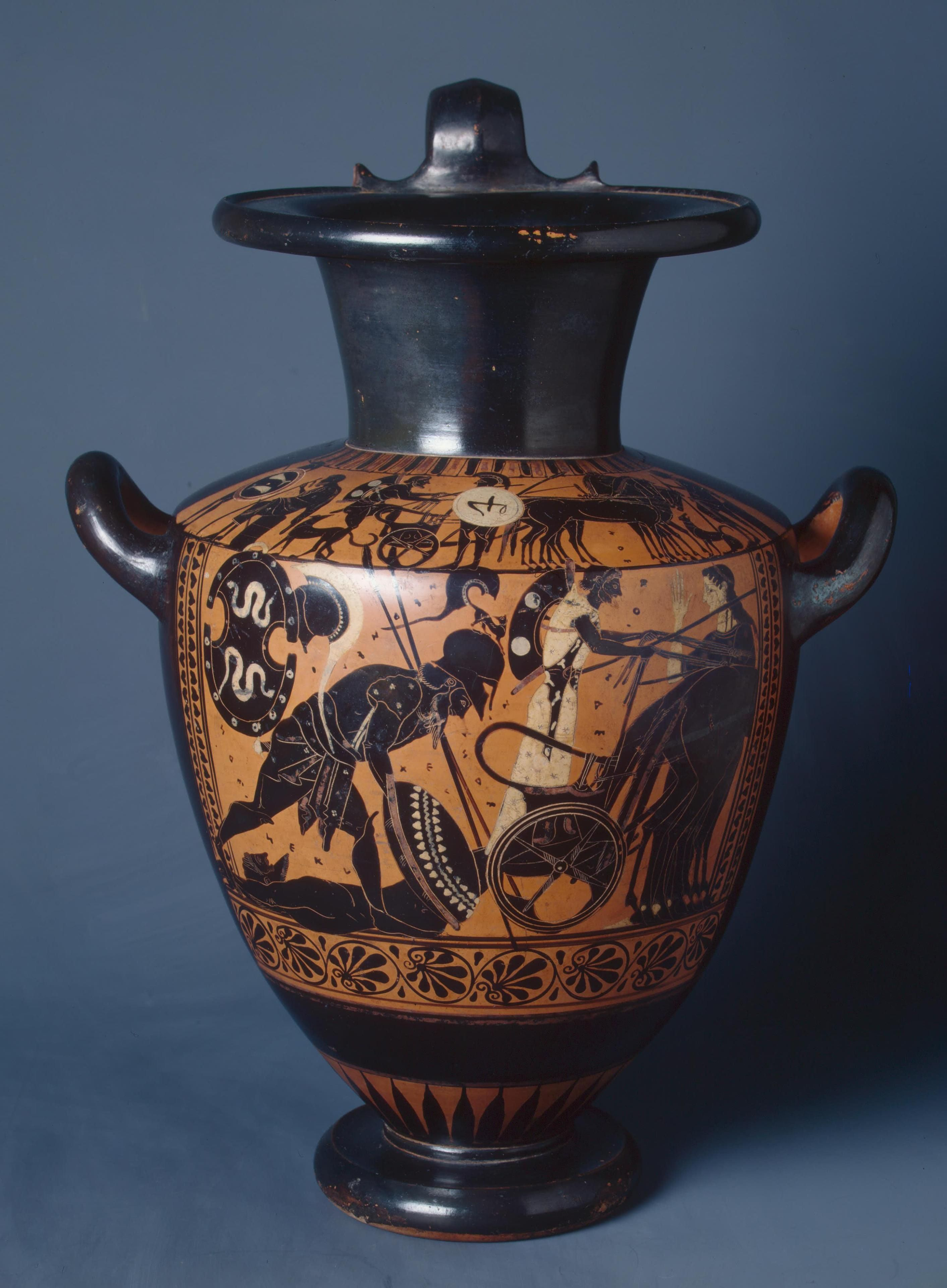 Black Figured Hydria A Chariot With Hector S Lifeless Body And