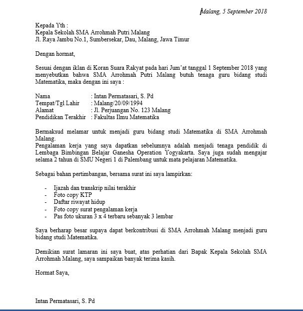 Contoh Surat Lamaran Kerja Guru Fresh Graduate Kepala Sekolah Guru Kerja